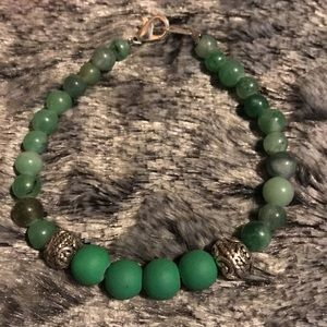 Green Agate Bracelet with Rubberized Green Glass